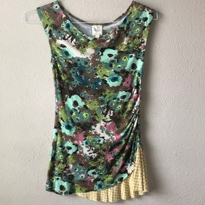 Anthropologie stretchy floral shirt